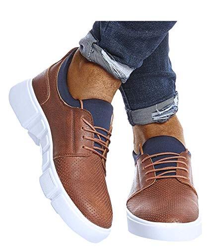 Leif Nelson Herren Schuhe für Freizeit Sport Freizeitschuhe Männer weiße Sneaker Sommer Coole Elegante Sommerschuhe Sportschuhe Weiße Schuhe für Jungen Winterschuhe Halbschuhe LN202 42 Braun