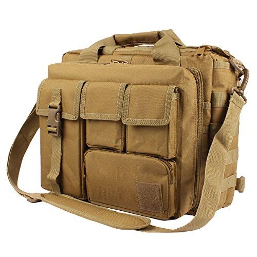 """GES Multifunción Mens al Aire Libre táctico Hombro de Nylon portátil Messenger Bag maletín Bolsos Grandes para 15.6"""" portátil/cámara(Marrón)"""