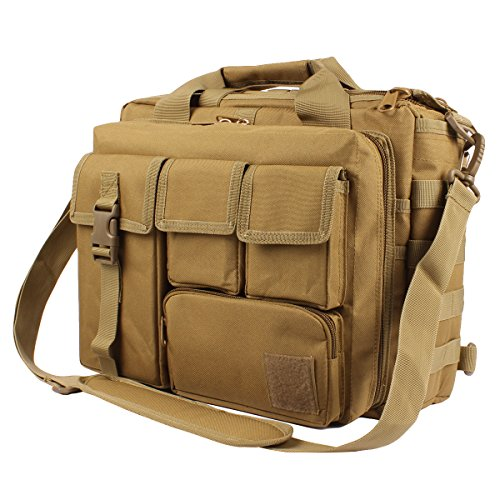 GES 15.6 inch Laptop Bag, Multi-funtion Men's Outdoor Tactical Nylon Shoulder Laptop Messenger Bag,Briefcase Handbags for Camera/Tablet/Notebook-Brown