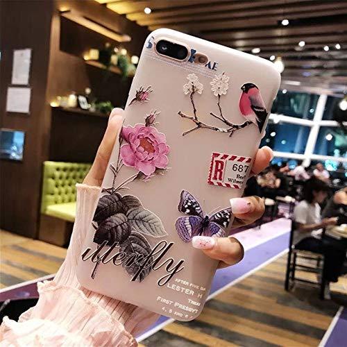LIUYAWEI Caja del teléfono para iPhone 11 Pro 6 6S 7 8 Plus X XR XS MAX 3D Relief Flower Leaf Sandía Soft TPU para iPhone XR, T10, para iPhone 7 u 8