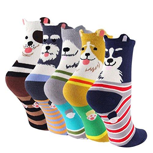 5-6 Pares Calcetines de Algodón para Mujeres Colores Mezclados Animales de Dibujos Gato Patrón Calcetines Calcetines Calientes de Divertidos Ocasionales Invierno Grueso de la EU 35-38 (5 pares-6120)