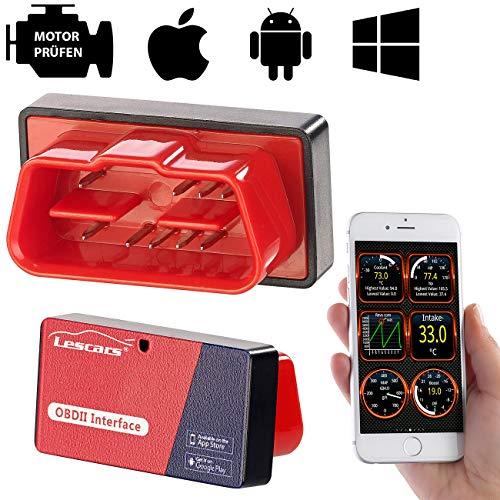 Lescars OBD Adapter: OBD2-Adapter mit ELM327-Chip und Bluetooth, für Smartphones (OBD Bluetooth)