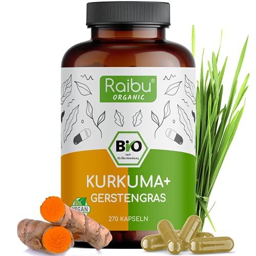 Raibu® Kurkuma Gerstengras Kapseln Bio (270 x 700 mg) Vegan - Curcuma und Gerstengras Mix im Verhältnis 2:1 - Gerstengras Kurkuma Kapseln hochdosiert, ohne Zusätze in Deutschland hergestellt