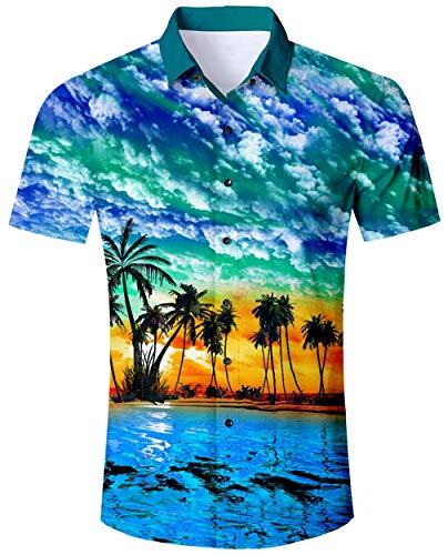 Camisa Hawaiana para Hombre Azul Hawaii Casual Manga Corta con Botones Camisas navideñas Impreso en 3D Camisa Colorida M