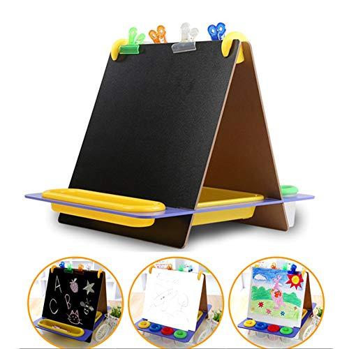 Rabbfay Tragbar Kinder 3 in 1 Tischplatte Magnetische Zaubertafeln Malerei Kunst Staffelei, Beinhaltet Papier Rollen Und Übergroß Clip, Perfekt Zum Kinder 3+ | Faltbar Zum Arbeitsplatte Abspielen