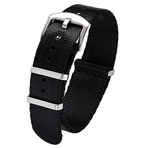 PBCODE Herren Uhrenarmbänder Nylon 22mm Schwarz Sicherheitsgurt Nato Strap