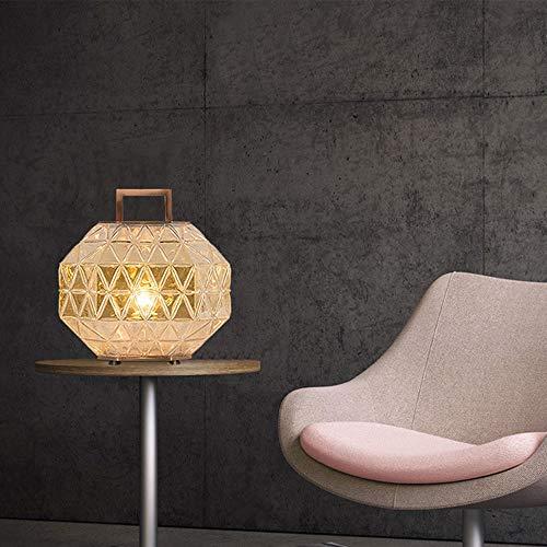 Xin Diseño Creativo Personalidad Moda Sala De Estar Dormitorio Hotel Cabecera Diamante Corte Vidrio Cubierta LED Lámpara De Mesa, Base De Metal, Antideslizante, Tamaño 24X27cm Xin