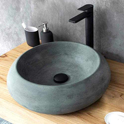 Magnus Home Products Suplee Round Cast Concrete Vessel Bathroom Sink, Copper Green, 57.0 lb