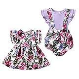 Puseky - Traje de niña con volantes, estampado floral, disponible en vestido para hermana mayor o pelele para hermana pequeña - - 0-6 meses