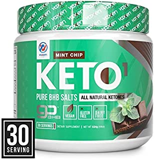Exogenous Ketones Supplement with Beta Hydroxybutyrate BHB Salts for Ketogenic Diet – Keto Powder Drink to Help Reach Ketosis, Weight Control, Reduce Stress, Boost Energy (Mint Chip, 30 Servings)