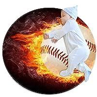 エリアラグ軽量 火の玉野球 フロアマットソフトカーペット直径27.6インチホームリビングダイニングルームベッドルーム