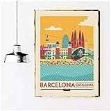 ASLKUYT Cartel de viaje de Barcelona Cataluña España impresiones lienzo pintura pared arte imagen para dormitorio decoración del hogar-20x28 en sin marco