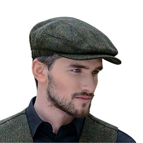 Peaky Blinders Cap for Men, Made in Ireland, 100% Irish Tweed, Green, Large