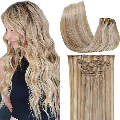 LaaVoo Clip in Hair Extensions Human Hair Great Lengths Hair Extensions 18 Pollice 70 Grammi/5Pcs Biondo Cenere Mix Candeggina Bionda #P18/613 Extension Capelli Veri Clips