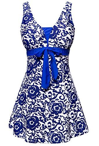 Summer Mae Damen Badekleid Geblümt Spa Badeanzug Strandkleid Baden Swimwear ,Saphirblau (Einteiler),EU 36 = Etikett Größe 2XL