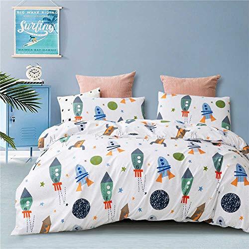 Ropa de cama infantil con dibujos animados, astronauta y cohetes, dibujos animados, funda nórdica...