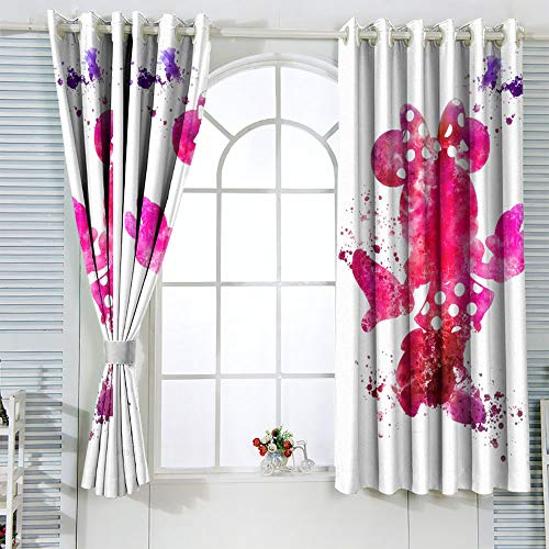 Cortinas con aislamiento térmico Mic-key Min-nie Mouse para sala de estar infantil, cortina opaca aislante térmico de 72 x 63 pulgadas