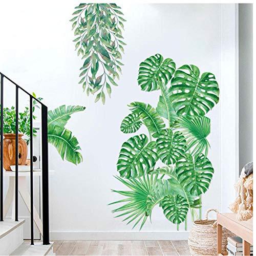 Muursticker Tropische Plant Muursticker Slaapkamer Woonkamer Decoratie PVC Zelfklevende muurschildering Huisdecoratie Art Decals Groen Blad Stickers