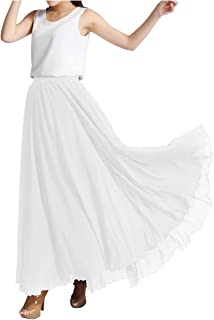 Indian Trendy Women's Chiffon Full Length Elastic Waist Retro Long High Maxi Skirt Summer Beach Vintage Dress Big Hem