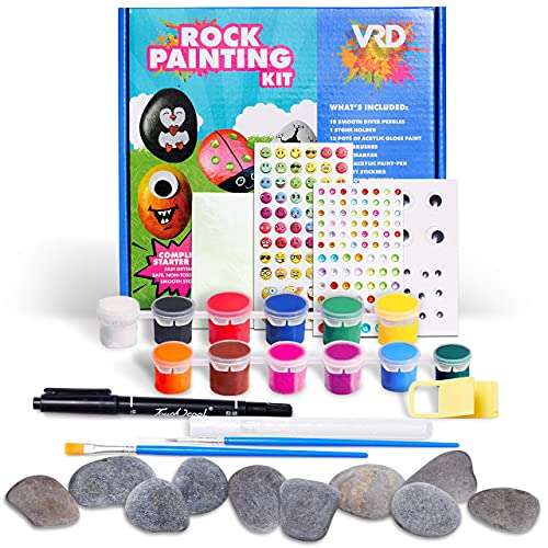 Rock Painting Kit - Fun Rock Art Supplies for Kids & Adults To Paint, Draw & Decorate - Waterproof Craft with Glow In The Dark Stickers for Outdoor Hide & Seek Play - Creativity Booklet with Tutorials