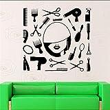 Strumenti per barbiere Forbici Pettine Specchio per capelli Toelettatura Barbiere Salone di bellezza Parrucchiere Adesivo da parete Adesivo da parete in vinile 57 * 57 cm