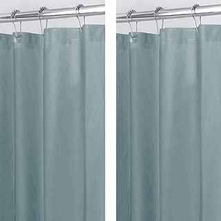 mDesign Waterproof, Mold/Mildew Resistant, Heavy Duty PEVA Shower Curtain Liner for Bathroom Shower and Tub - No Odor- 3 Gauge, Long - 2 Pack - Smoke Gray