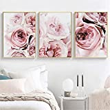 LIANGX Lienzo de peonías rosas para pared, arte nórdico, sin marco, paisaje, imágenes para salón, decoración del hogar (3 x 50 x 70 cm, 4 unidades)