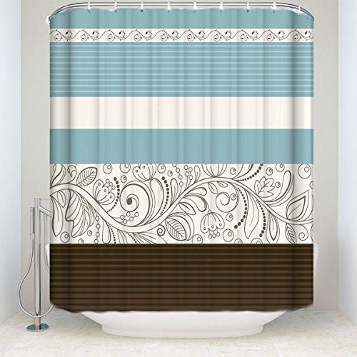 Crystal Emotion Stripe Shower Curtain Fabric,Floral Flower Blue Brown Grey 66x72inch
