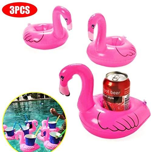 Mankoo 3 Stück Flamingo ufblasbare Getränkehalter Drink Holder Wasser Flaschenhalter Schwimmring Spielzeuge für Pool Cocktails Bier Strand Bade Party Deko