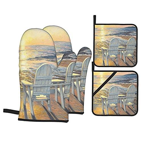 ASNIVI Guantes y agarraderas para Horno, Playa Paisaje Marino Atardecer Océano Mar Paisaje Aire Libre Naturaleza Costera Adirondack Silla Pintura,Guantes Resistentes al Calor Guantes aislantes