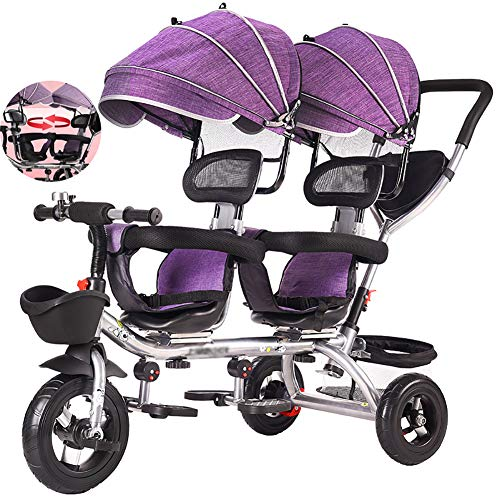 FLy Triciclo para Bebé con Pedales Plegables Triciclo para Gemelos Asiento Doble con Cesta Toldo Extraíble, con Asa De Empuje Desmontable Ajuste De 12 Meses A 6 Años,Púrpura