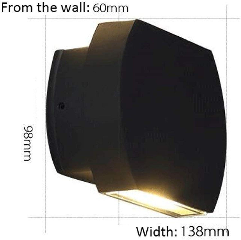 HhGold LED-Wandleuchte im Freien Wasserdichte Aluminium Balkon Walk innerhalb der Wandleuchte (graue Farbe) (Farbe   schwarz-b)