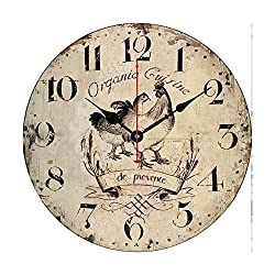 Moonluna Provence Countryside Rooster Wall Clock Decorative Bedroom Wooden Quartz Silent Clock Gift 14 Inches