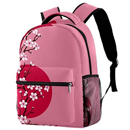 Mochila japonesa de flores de cerezo rama de flores rosas mochila escolar mochila de viaje casual para mujeres adolescentes niñas niños