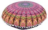 Ronda de Mandala 32 fundas de almohada ', india Pom Pom funda de cojín, cojines decorativos, Almohada Roundie exterior de la cubierta,