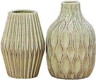 Home Collection Meubles, décoration - set de 2 vases, ornement - Style: Modern - Matière: grès cérame - Couleur: vert clai...