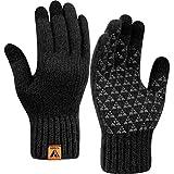 Winter Knit Gloves Warm Full Fingers Men Women with Upgraded Touch Screen - Anti-Slip Wool Glove Fleece Lined