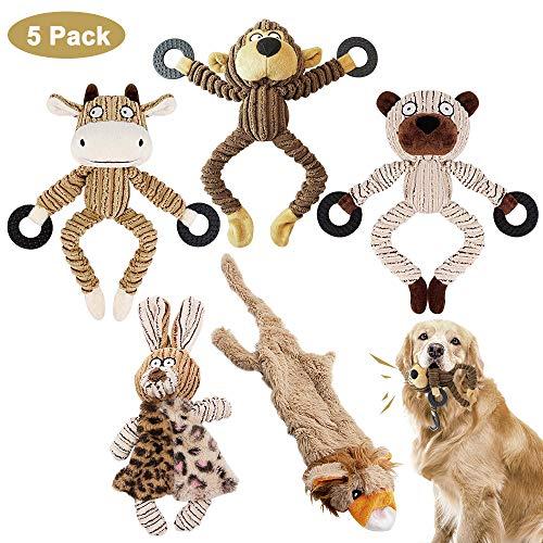 AYUQI Juguetes para Perros, 5 Piezas Grupo de Juguetes para Perros Durable Masticable Perro Chirriante Masticar Juguete de Entrenamiento de Dientes para Cachorros Pequeños Medianos Grandes Perros
