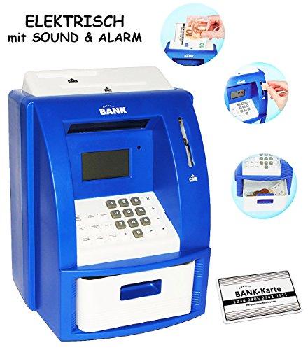 alles-meine.de GmbH elektrische Spardose -  Geldautomat  - blau - mit Sound + PIN Geldkarte + Sparzähler + Alarm Funktion + Zählfunktion / stabile & Digitale Sparbüchse / Spars..