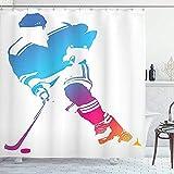 wobuzhidaoshamingzi Sport-Duschvorhang, Bunte Mann-Zahl Schattenbild eines Hockey-Spieler-Athleten Racing Team Design Magenta Orange