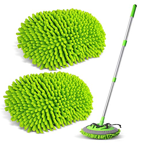 Sfumoc 2 in 1 Extendable Car Wash Brush Kits Mop with Long Handle, Chenille Microfiber Car Cleaning Kit Brush Duster-Scratch Free- car wash Tools for Washing Truck, Car, RV