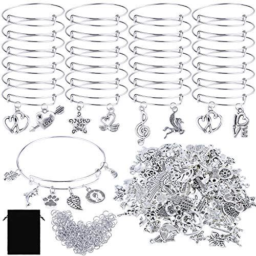 RUODON 325 Pieces Silver Charm Bracelets DIY Kits, 24 Pieces Blank Expandable Bangle Bracelets, 100 Pieces Charm Pendants, 200 Pieces Open Rings with Storage Bag for DIY Craft, Jewelry Making