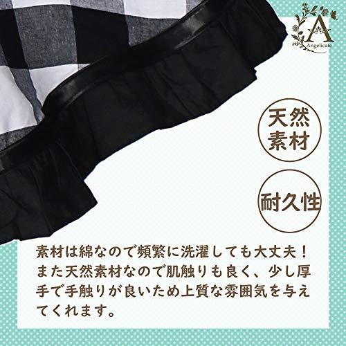 【Angelicate】エプロン女性用フリルレースメイドカフェ綿リボン前掛けキッチン(チェックブラック)