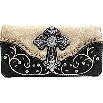 Justin West Western Rhinestone Cross Weaved Leather Laser Cut Floral Design Chain Shoulder Back Conceal Carry Handbag Purse with Flat Wallet (Beige Trifold Wallet)