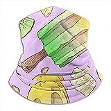 xinfub Patrón sin Costuras Helado Plátano Limón Kiwi Diadema para la Mano Mascarilla Bandana Pañuelo para la Cabeza Bufanda Cuello Calentador Sombreros Pasamontañas