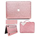 MacBook Air 13 inch Case, Anban Glitter Bling Smooth Protective Case & Glitter Laptop Sleeve & Keyboard Cover Compatible for MacBook Air 13' (A1369 & A1466)