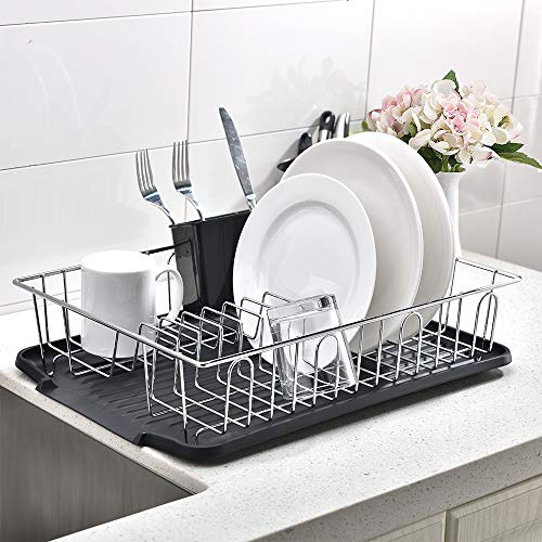 Popity home 3 piece Sturdy Kitchen Sink Side Silver Dish Drying RackDish Rack with Black Drainboard and Utensil Holder