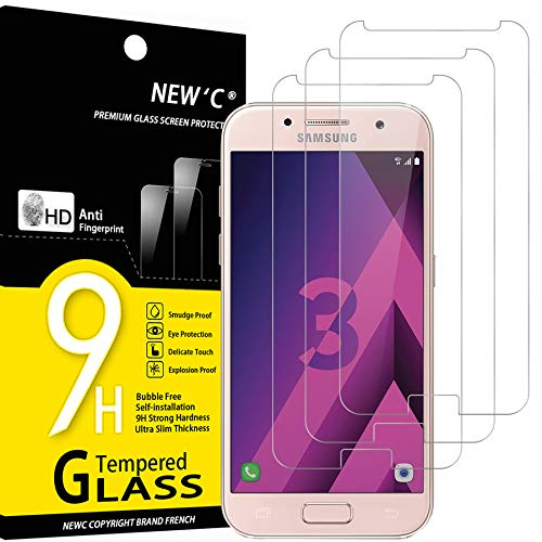 NEW'C 3 Stück, Schutzfolie Panzerglas für Samsung Galaxy A3 2017, Frei von Kratzern, 9H Festigkeit, HD Bildschirmschutzfolie, 0.33mm Ultra-klar, Ultrawiderstandsfähig
