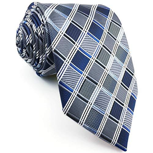 Shlax&Wing Geschäftsanzug Herren Krawatte Grau Blau Kariert Seide Dünne