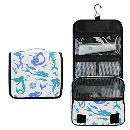 ALARGE - Bolsa de aseo para colgar con diseño de delfín de sirena, grande, portátil, bolsa de maquillaje, organizador para mujeres, hombres